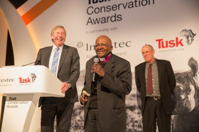 Tusk Awards 2017 Archbishop Desmond Tutu & Derek Watts with Prince William Award Winner Rian Labuschagne
