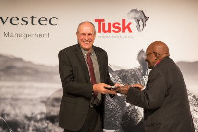 Tusk Awards 2017 Archbishop Desmond Tutu presents award to Prince William Award Winner Rian Labuschagne (2)