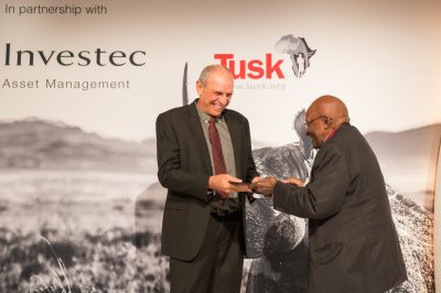 Tusk Awards 2017 Archbishop Desmond Tutu presents award to Prince William Award Winner Rian Labuschagne