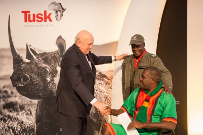 Tusk Awards 2017 FW de Klerk presents Rangers Awards to Joint Winners Lucky & Solomon