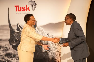 Tusk Awards 2017 Mrs Graca Michel presents Tusk Award to Brighton Kumchedwa 1