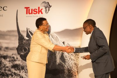 Tusk Awards 2017 Mrs Graca Michel presents Tusk Award to Brighton Kumchedwa 2