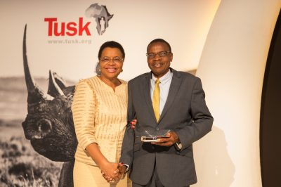 Tusk Awards 2017 Mrs Graca Michel with Tusk Award Winner Brighton Kumchedwa